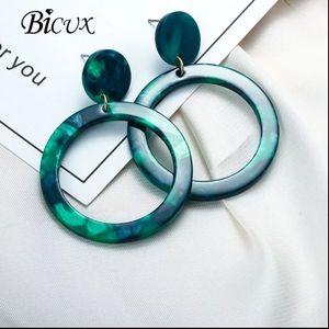 EARRINGS | Green Geometric Hoop Circle Dangle Drop